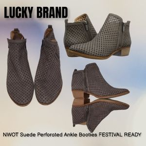 LUCKY BRAND Suede Perforated Ankle zip Booties 8.5